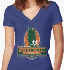 Psychic 1/4 Marathon Women's Fitted V-Neck T-Shirt
