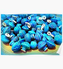 Blue pottery ceramic knobs Poster