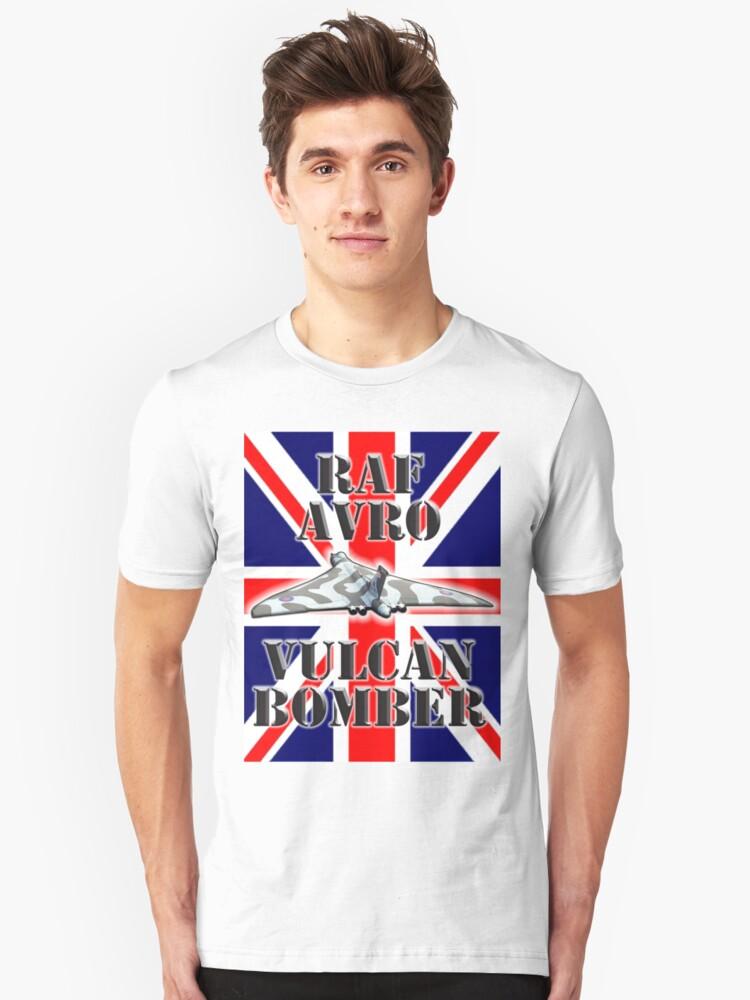 V BOMBER, Avro Vulcan, Union Jack, RAF, Bomber, Cold War, Aircraft, British, Falklands, War Unisex T-Shirt Front