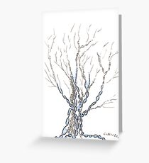 Little DNA Tree, Hand drawn ink on paper ACEO Greeting Card