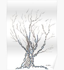 Little DNA Tree, Hand drawn ink on paper ACEO Poster