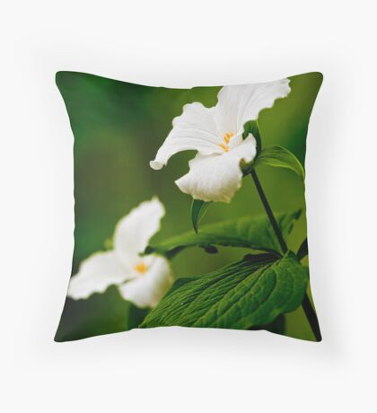 White Trillium Throw Pillow