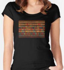 Weinlese-Bibliothek bei Chateau Chantilly, Paris FRANKREICH Tailliertes Rundhals-Shirt
