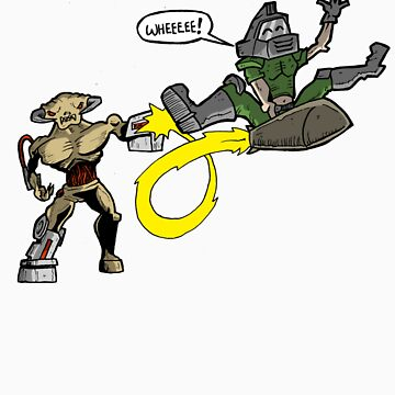 Doom Guy versus Cyberdemon by Jayextee