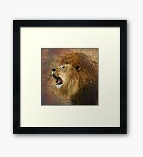 Roaring Lion in Watercolor and Ink Painterly Framed Print