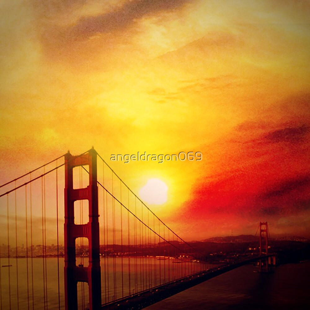 SF under a burning sunset by angeldragon069