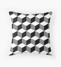 Cube Pattern Black White Grey Throw Pillow