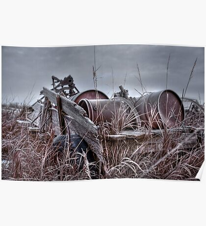 Old wagon in field Poster