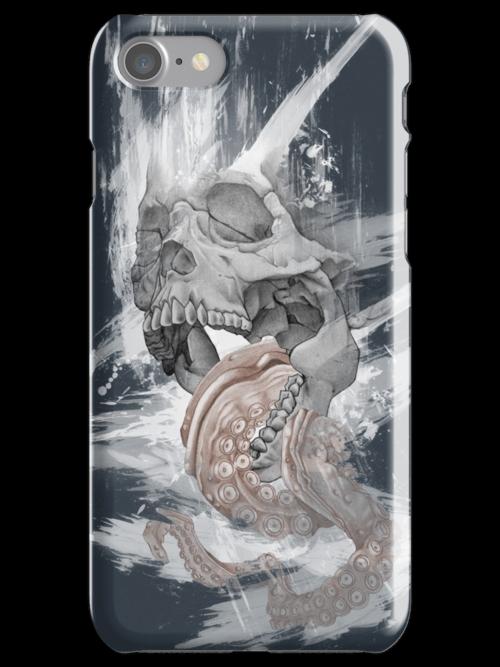 Skull Octopus Graphic tshirt -- Kraken Skull -- fitted Men Unisex t shirt by Jess Wathen