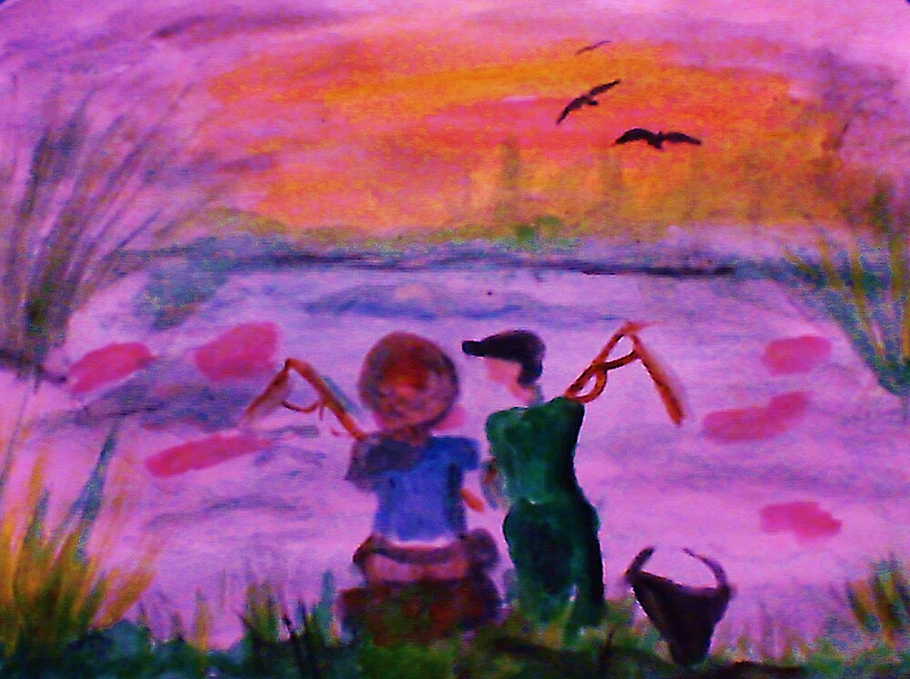Fishing together, watercolor by Anna  Lewis, blind artist