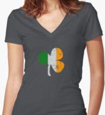 Vintage Irish Flag Clover St Patricks Day Women's Fitted V-Neck T-Shirt