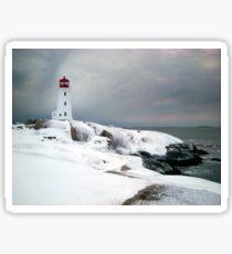 Peggys Cove Lighthouse in the Snow - Nova Scotia Canada Sticker