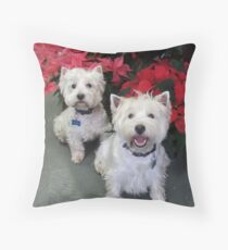 White Westie Christmas Throw Pillow