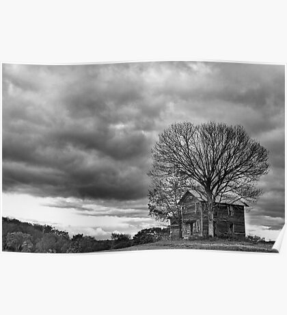 Lonely house B&W Poster