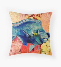Blue on Pink Throw Pillow