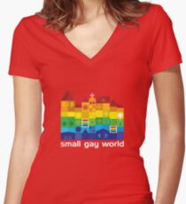 Small Gay World - Dark Background Women's Fitted V-Neck T-Shirt
