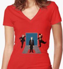 Silent Comedy Stars Women's Fitted V-Neck T-Shirt