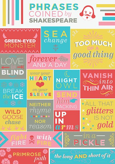 phrases coined by shakespeare posters by livelylexie redbubble