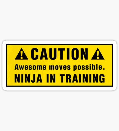 Caution: Awesome moves possible. Ninja in training. Sticker