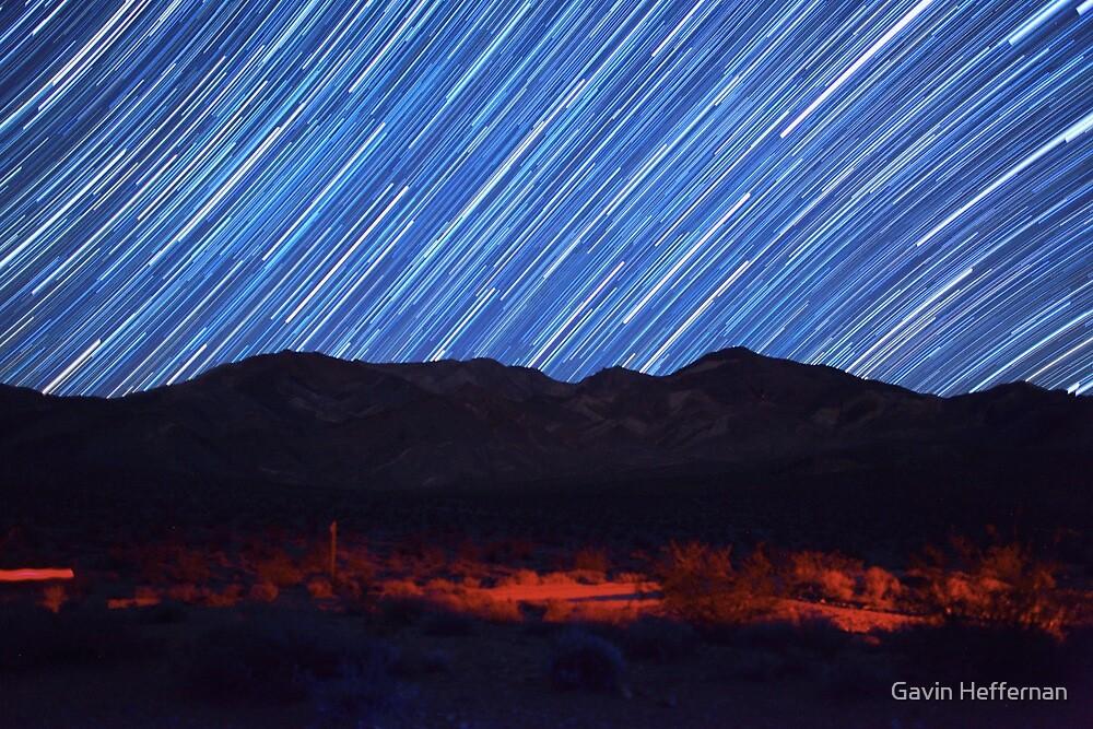 Amazing Star Trails Over Death Valley Desert Mountain by Gavin Heffernan