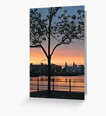 Sunset over the Liver Birds  Greeting Card