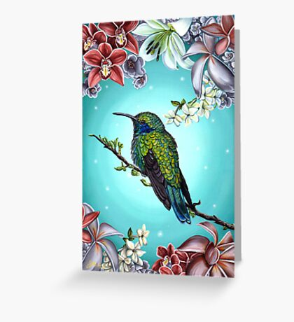 Junebug Green Hummingbird with Jasmine Orchids Flowers Greeting Card