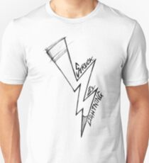 struck by (writing) lightning. Unisex T-Shirt