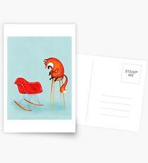 Fox Perplexed by Modern Furniture Postcards