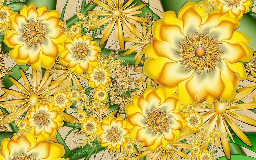 Yellow Orbit Trap Flowers by wolfepaw