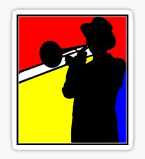 Silhouette trombone player, mondrian colours Sticker