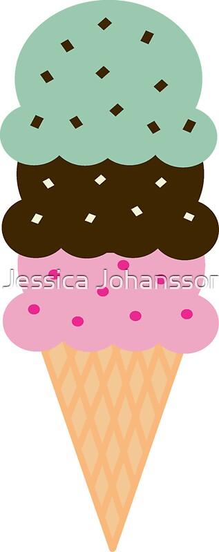 """Triple Scoop Ice Cream Cone"" Stickers by Jessica ...  ""Triple Sc..."