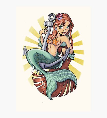Mermaid on anchor Photographic Print