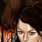 War Four Horsemen Girl with Red Horse Burning Forest by plantiebee