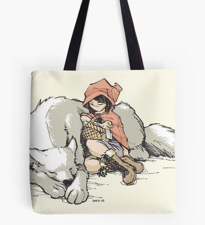 Petite Rouge en le Loup  Tote Bag