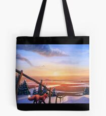 Red Fox's Wintry Sunrise Tote Bag