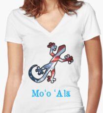 All American Hawaiian Gecko Women's Fitted V-Neck T-Shirt