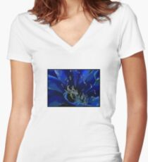 Blue Macro Women's Fitted V-Neck T-Shirt