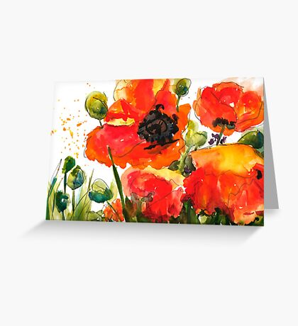Kate's Poppys Greeting Card