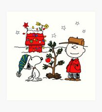 Snoopy and Charlie Brown Art Print
