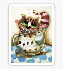 The Cheshire Cat - snuggly teapot Sticker