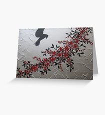 picture of a bird with red grey gray silver black blossom and leaves Greeting Card