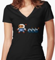Bomberman pixel Women's Fitted V-Neck T-Shirt