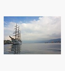 The White Ship at Dawn Photographic Print
