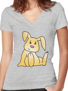Brown Bunny Rabbit Women's Fitted V-Neck T-Shirt
