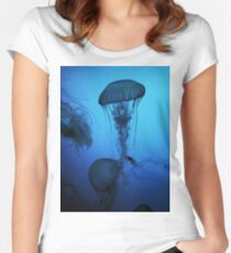 Portrait of a Jellyfish- Blue Women's Fitted Scoop T-Shirt