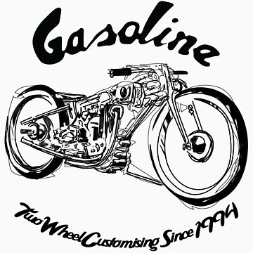 Gasoline Scooters & Motorcycles Line Drawing by GASOLINESK00T