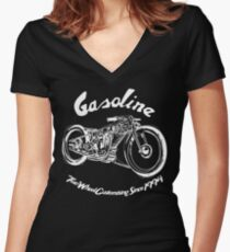 Gasoline Scooters & Motorcycles Line Drawing Women's Fitted V-Neck T-Shirt