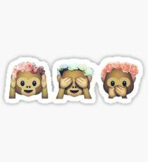 Monkey See No Evil Hipster Flower Crown Emoji Sticker