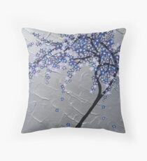 blue and purple blossom tree Throw Pillow