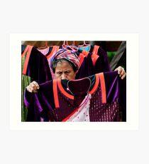 Akha, Hill Tribe Woman and Fabric Art Print
